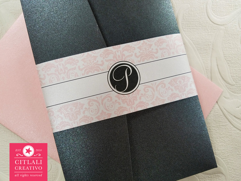 Elegant Pink & Black Damask Wedding Invitations