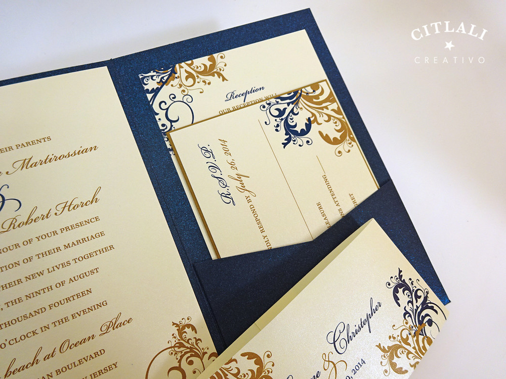 Antique Gold & Navy Elegant Filigree / Flourish Wedding Invitation