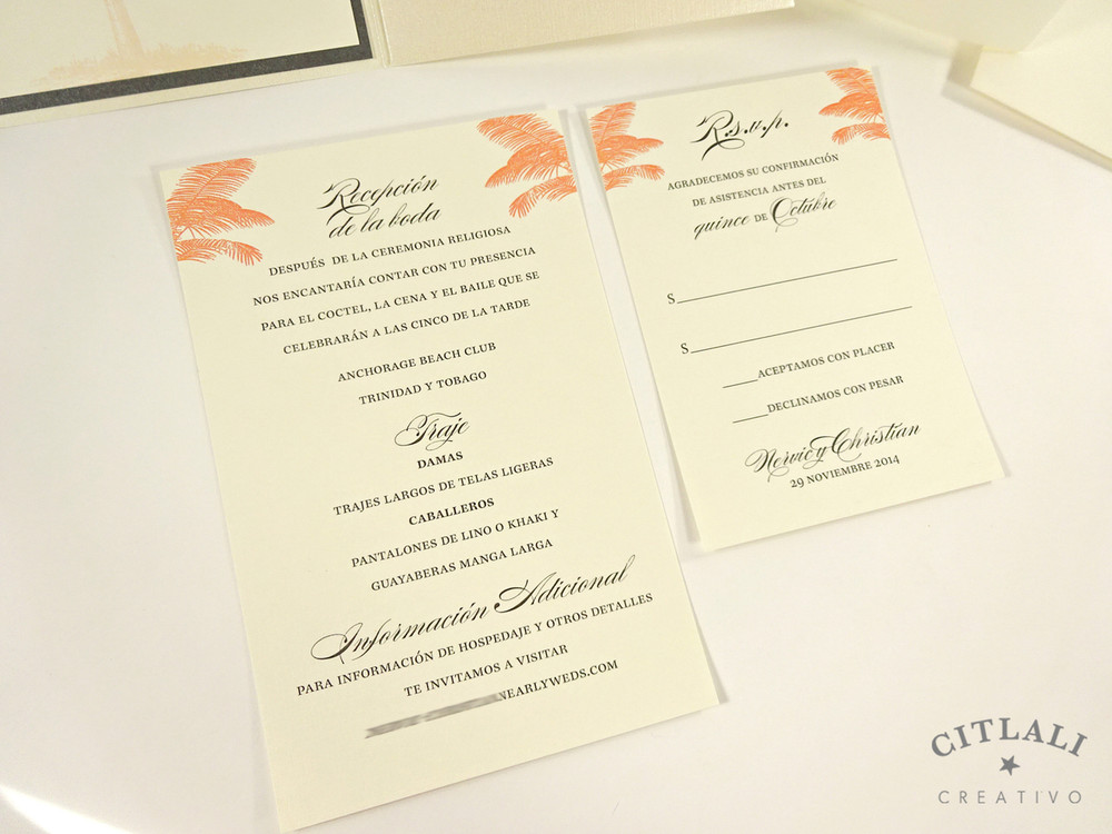 Coral Palm Tree Silhouette Beach Wedding Invitation