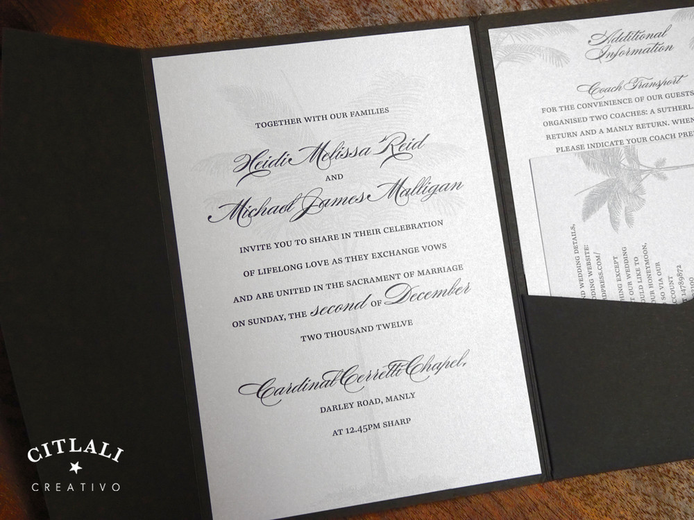 Silver & Black Palm Tree Silhouette Beach Wedding Invitation