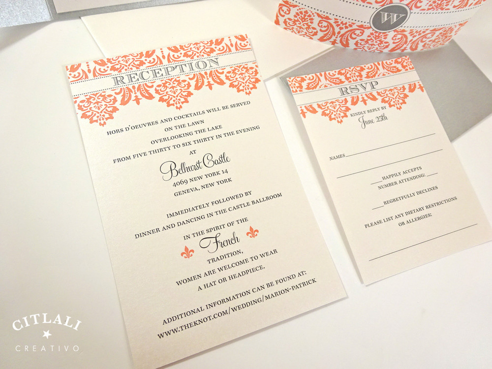 Coral & Silver Monogram Damask Wedding Invitation