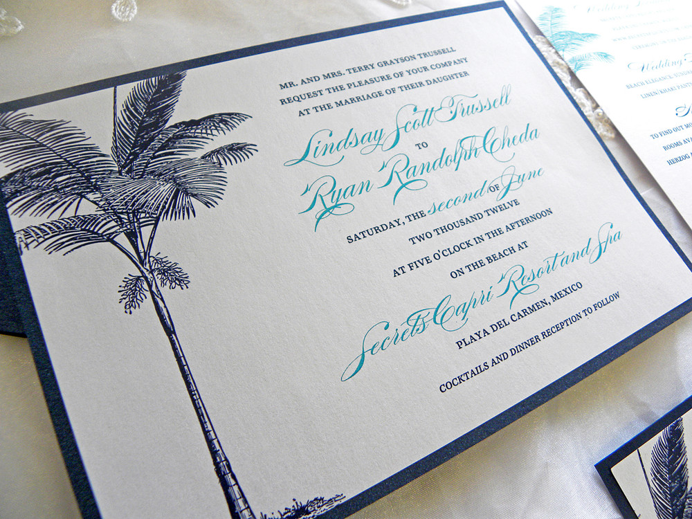 Navy Blue Turquoise Palm Tree Beach Wedding Invitations Citlali