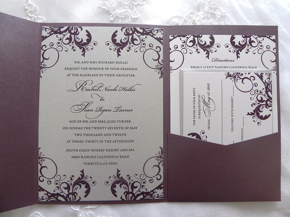 Silver And Purple Wedding Invitations: Silver & Plum Purple Filigree Swirl Pocket Folder Wedding