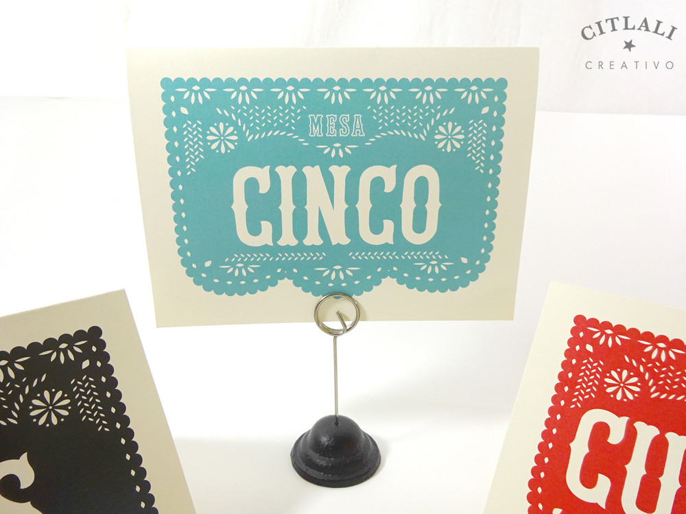 Papel Picado Table Tent Numbers with Numbers Spelled out