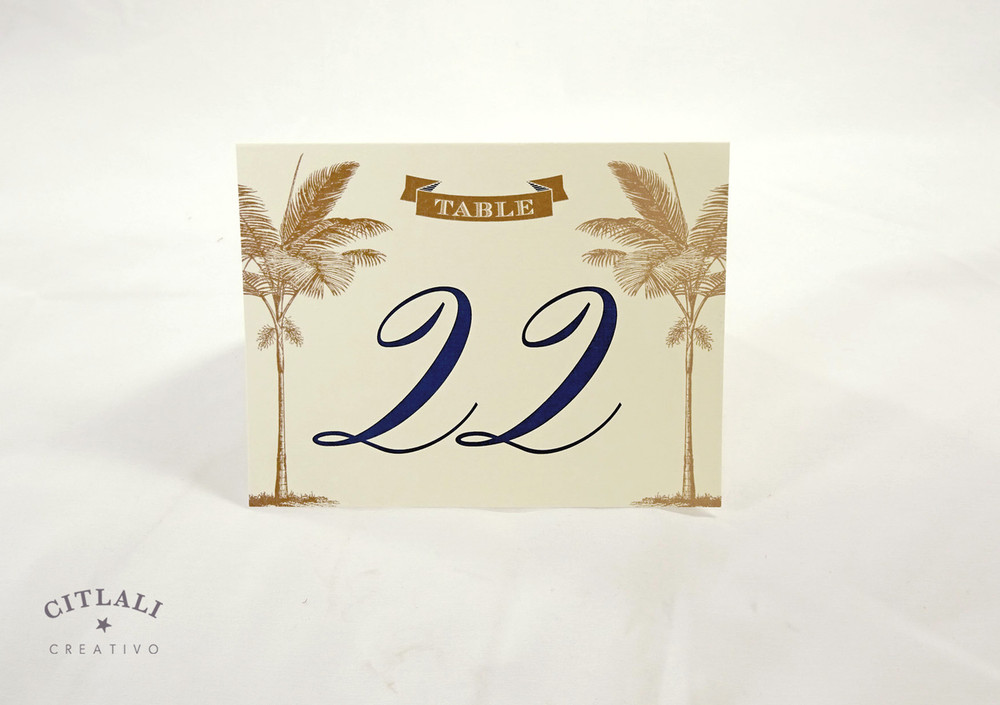 Double Side Palm Tree Banner Beach Tent Table Numbers