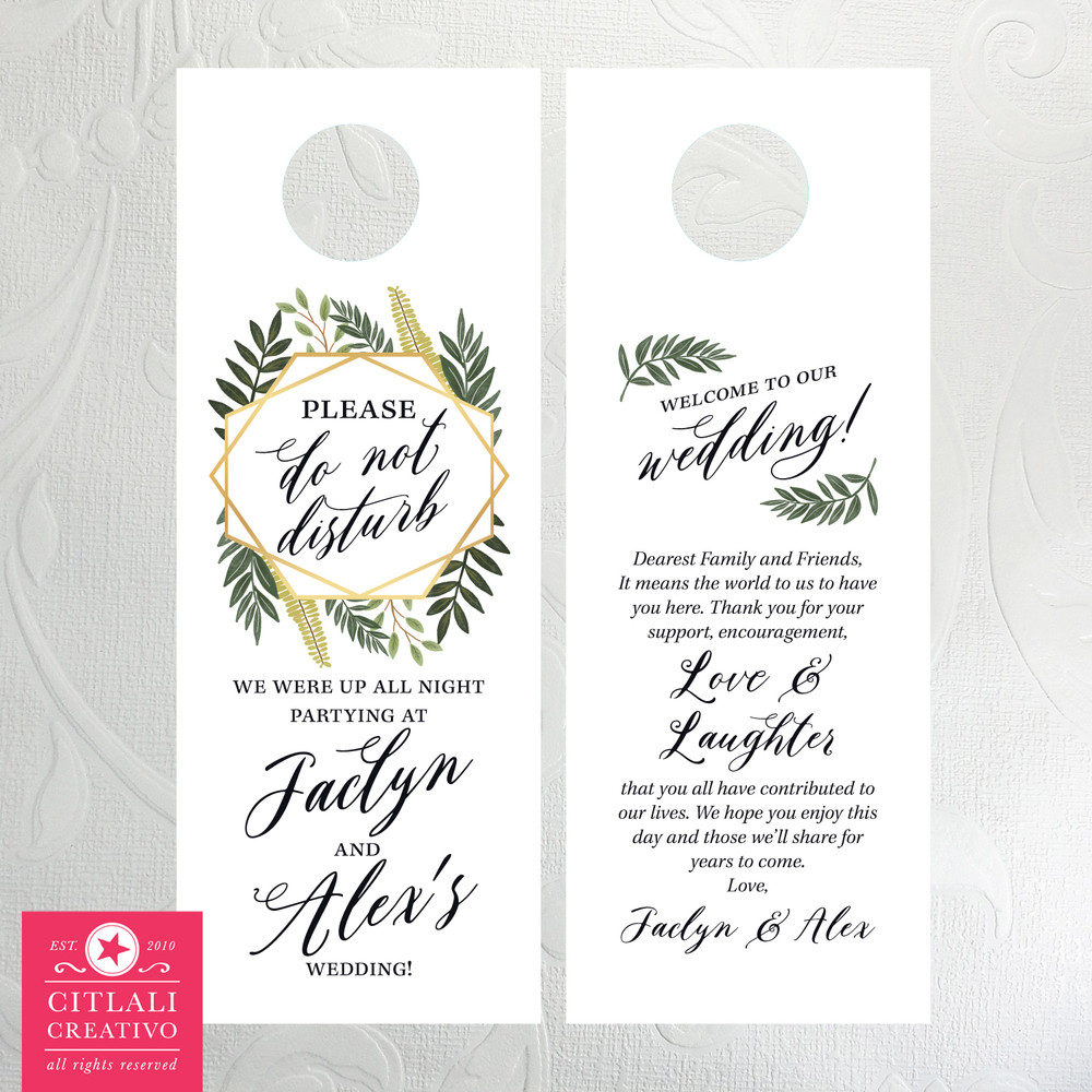 Leafy Botanical Geometric Frame Please Do Not Disturb Wedding Door Hangers for Guests
