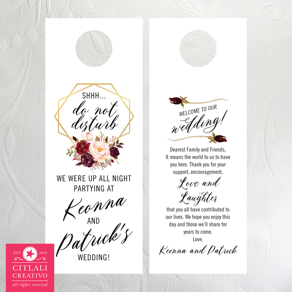 Floral Roses Bouquet with Gold Geometric Frame in Pinks / Reds Shhh Do Not Disturb Guest Door Hangers