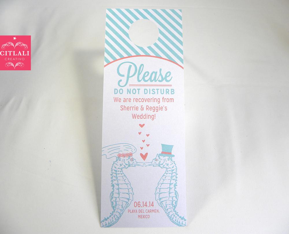 Seahorses, Hearts & Stripes Do Not Disturb Wedding Door Hangers