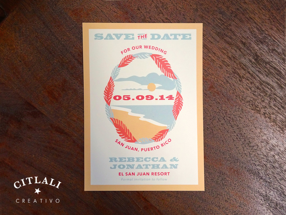 Palm Leaves Destination Island Vintage Wedding Save the Date Announcement