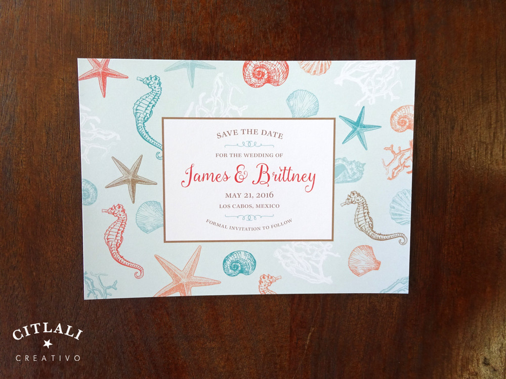 Beach Ocean Sea Border Wedding Save the Date Announcement