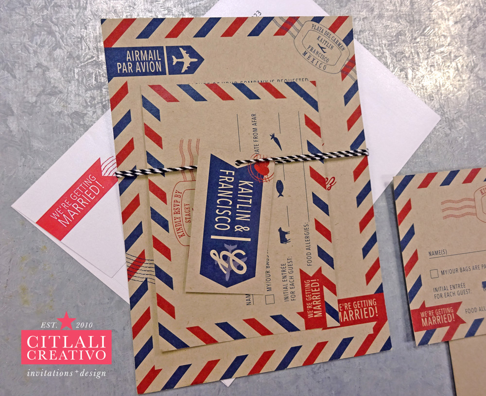 Postal Letter Vintage Theme Wedding Invitations