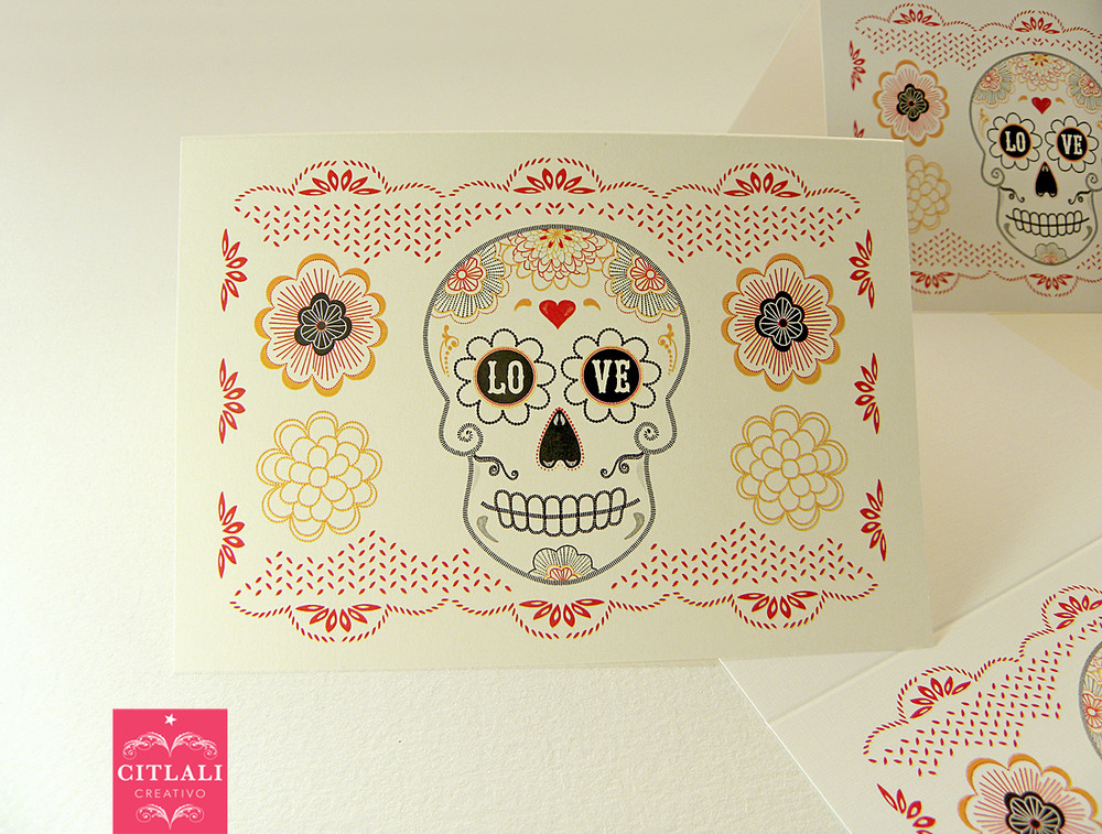 Lovor or Amor Flower Papel Picado Blank Note cards Folded