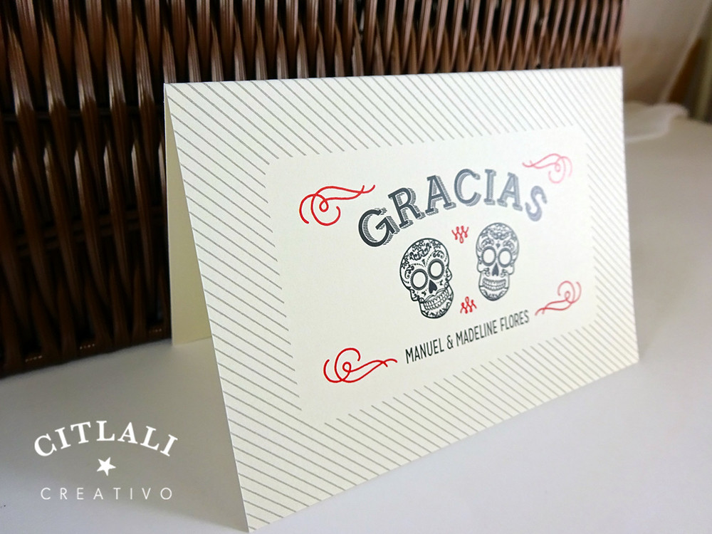 Sugar Skulls Curved Gracias or Thank You Card Folded