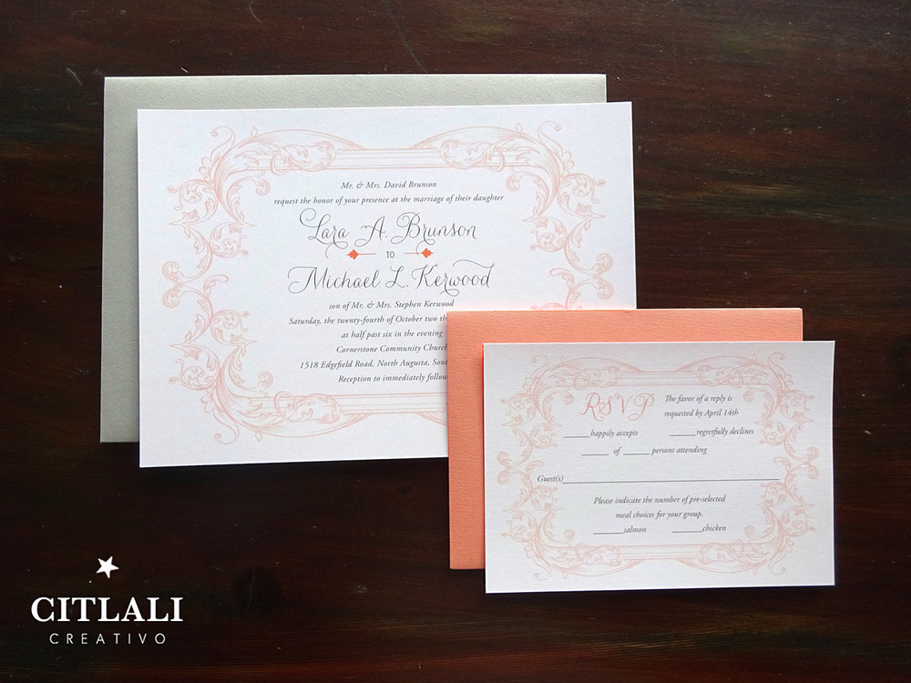 Elegant Vintage Flourish Wedding Invitations in Coral & Gray