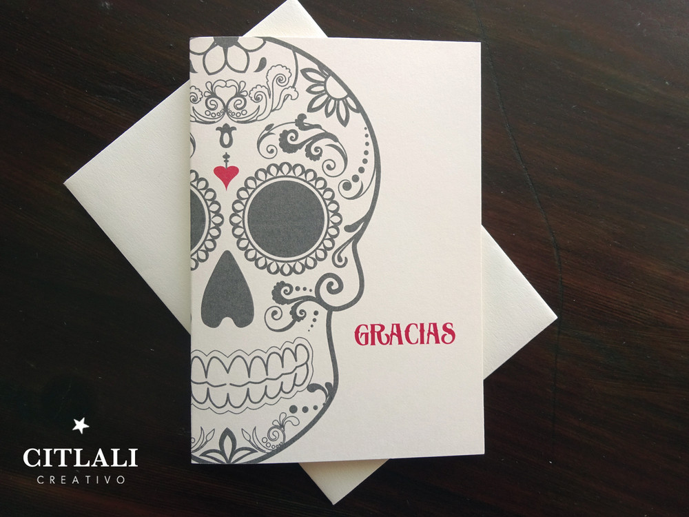 Large Bold Sugar Skull Gracias or Thank You Cards