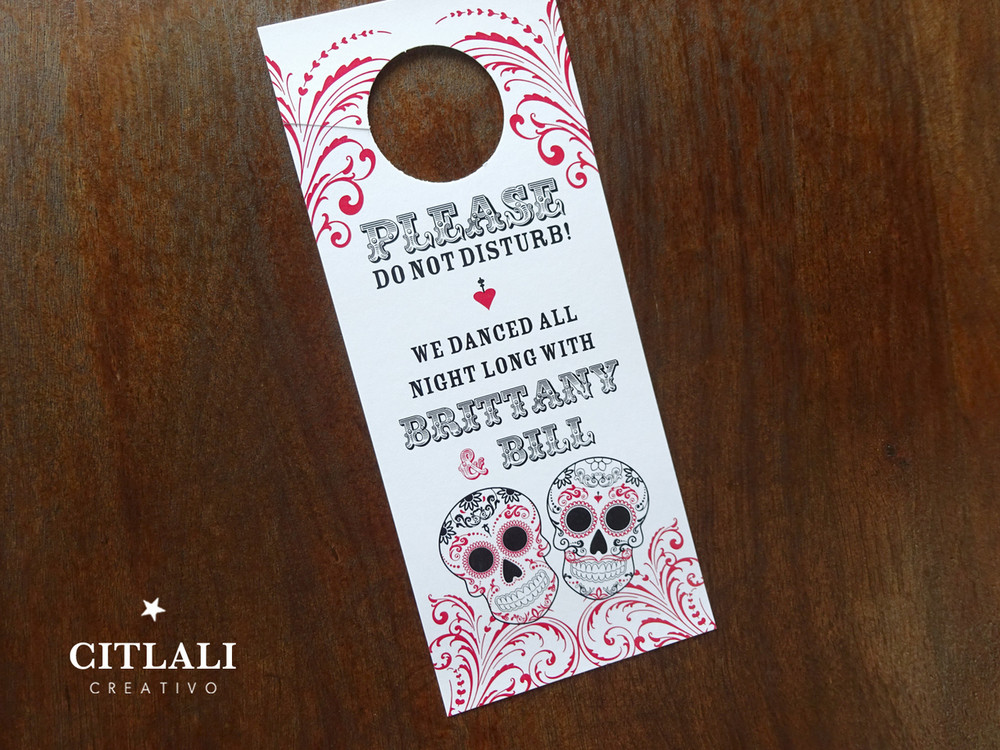 Mexican Sugar Skull Flourish Do Not Disturb Wedding Door Hangers