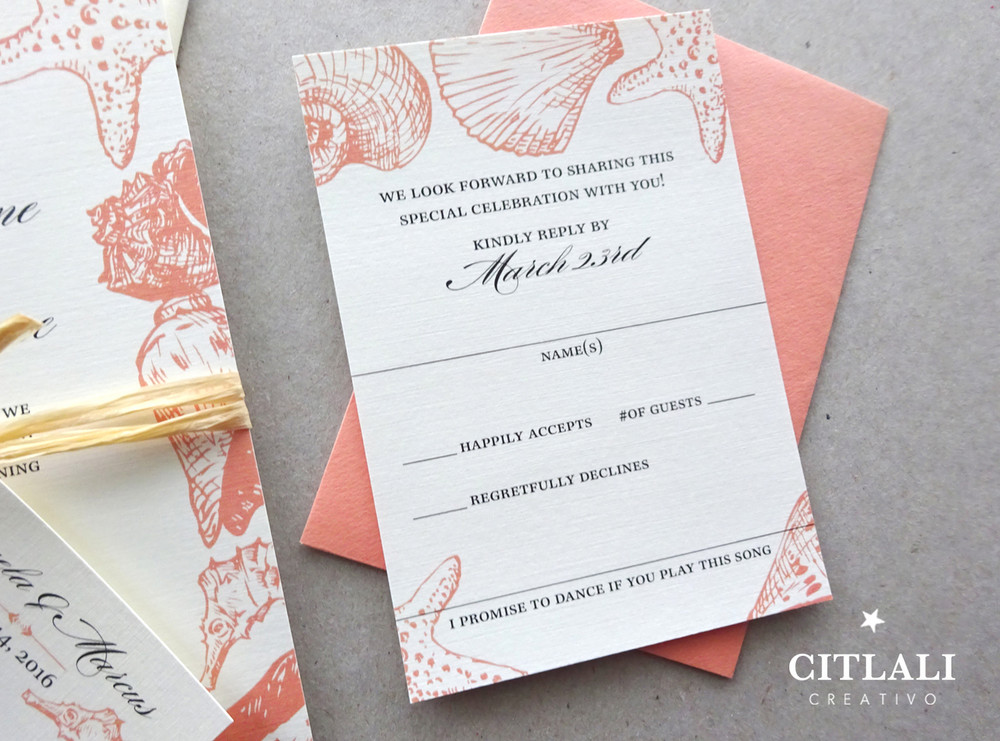 Seashells & Seahorses Beach Wedding Invitations in Coral and Raffia & Tag closure
