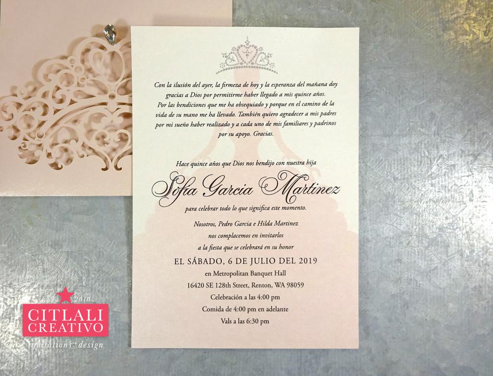 Fairytale Prince Rhinestone Tiara Sweet 16 / Quinceañera Invitations