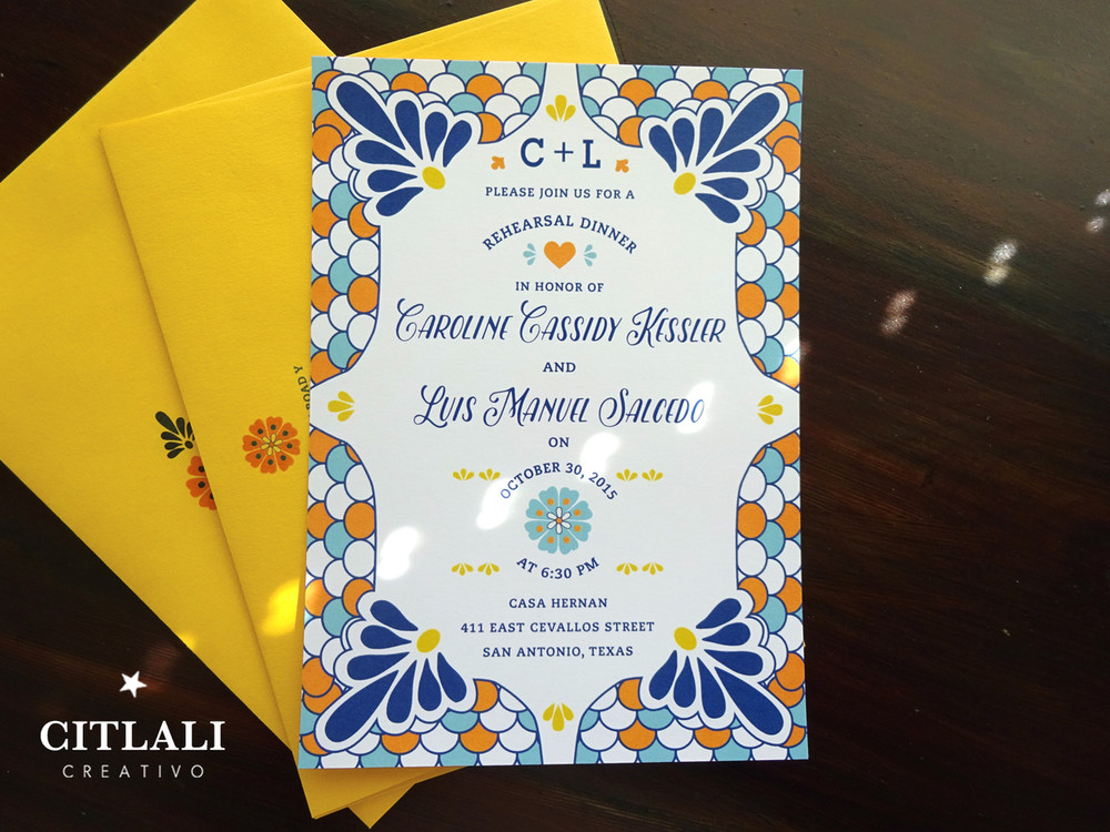 Talavera Spanish Tile Rehearsal Dinner Invitations