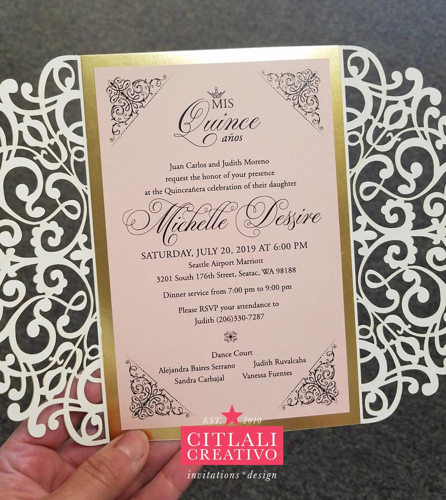 Gold Foil & Glitter Laser Cut Quinceañera Invitations