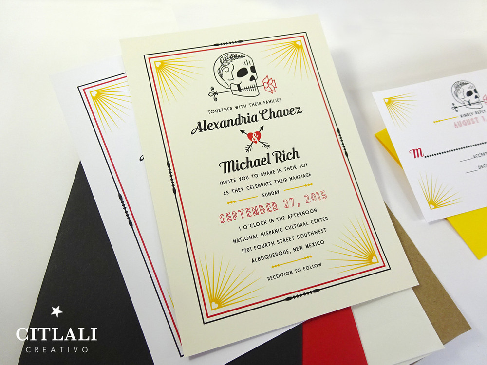 Modern Skull with Rose & Heart Arrows Wedding Invitations