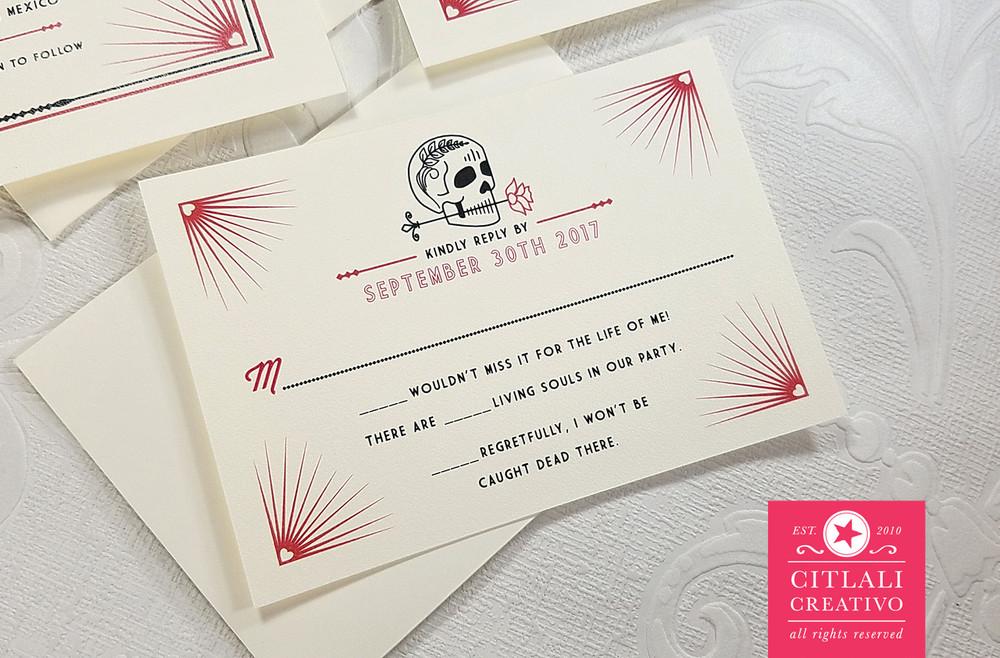 Heart Corner Burst Skull & Rose Wedding Invitations