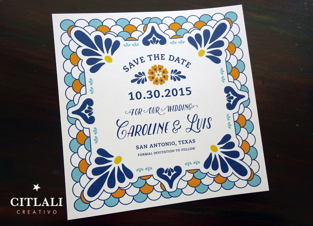 Square Talavera Spanish Tile Wedding Save the Dates