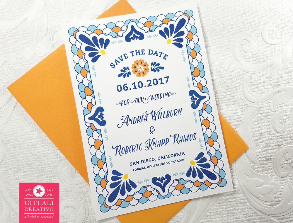 Talavera Spanish Tile Wedding Save The Dates Citlali Creativo Llc