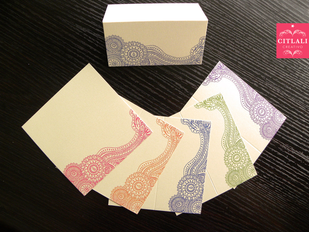 Paisley Henna Tent Place Cards in 5 colors
