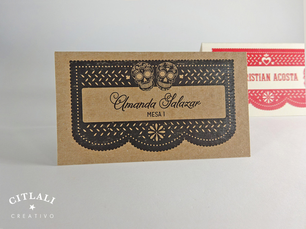 Papel Picado & Sugur Skulls Tent Style Place Cards