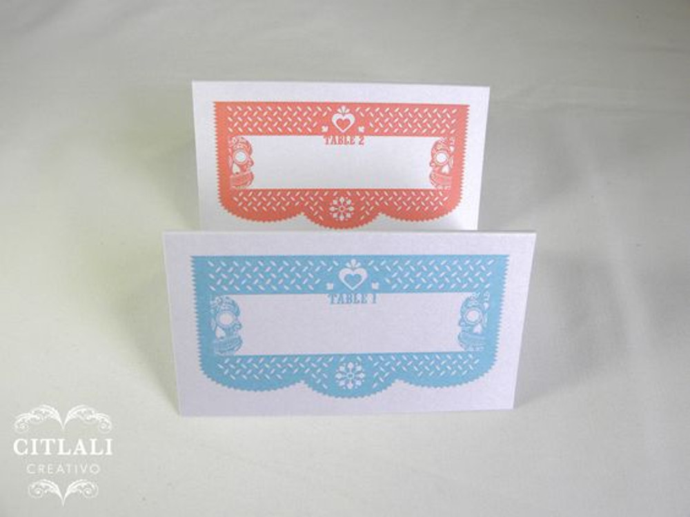 Coral / Blue Papel Picado Heart Tent Style Place cards or any color