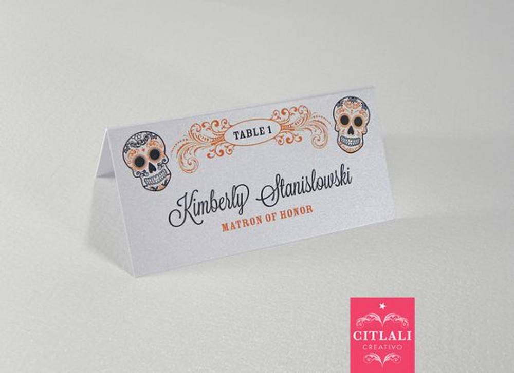 Orange & Black Sugar Skull Halloween Tent Style Place Cards
