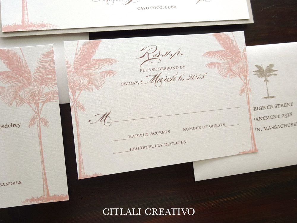 Blush & Sand Palm Tree Beach Wedding Invitations Glitter & Ribbon Closure