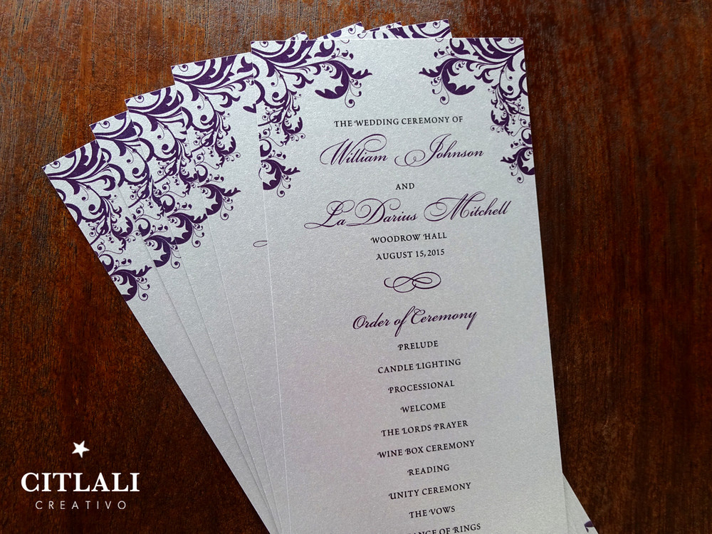 Wedding Ceremony Programs.Elegant Corner Flourish Silver Wedding Ceremony Programs