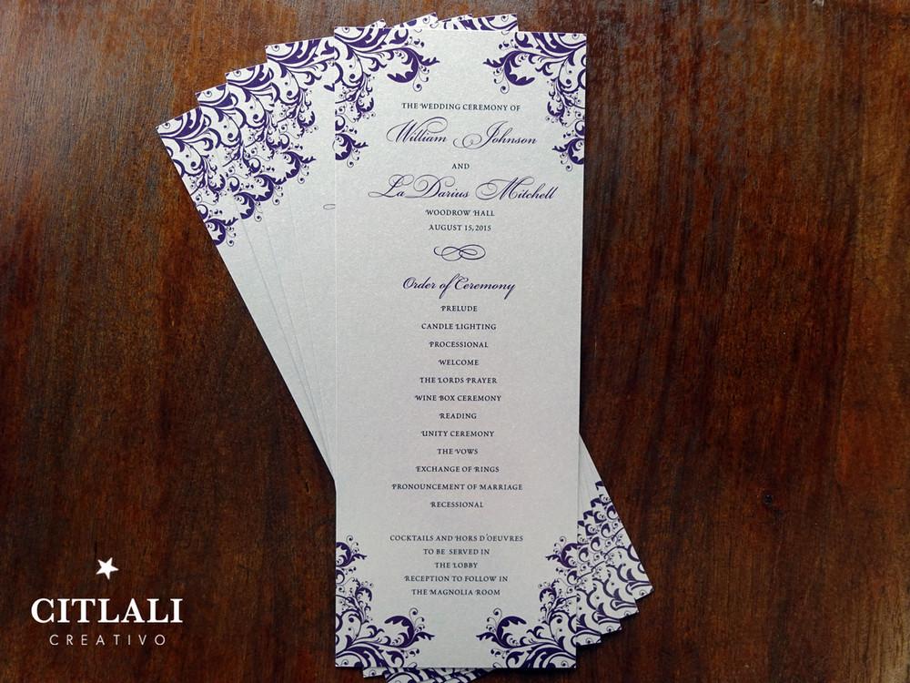 Elegant Corner Flourish Silver Wedding Ceremony Programs