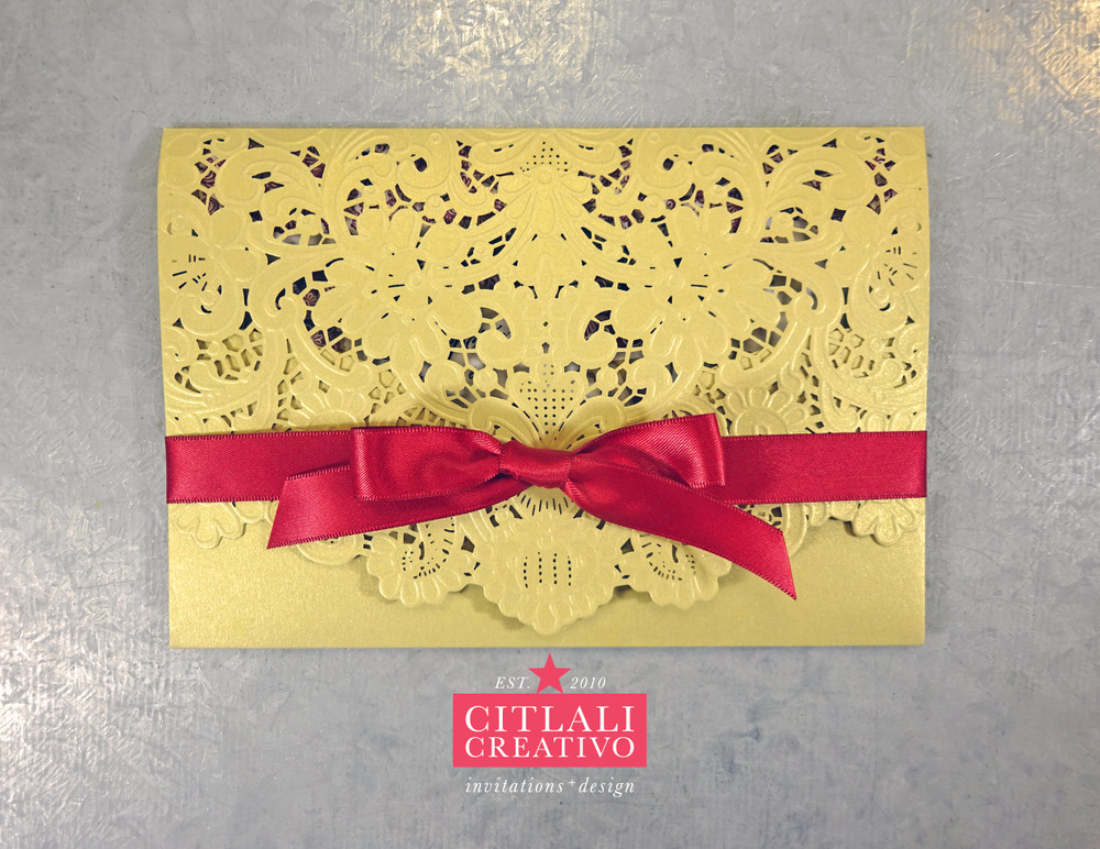 Gold & Dark Red Envelope Style Lace Laser Cut XV Invitations