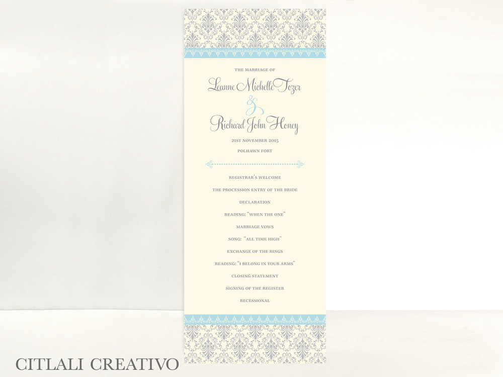 Wedding Ceremony Programs.Elegant Blue Silver Damask Wedding Ceremony Programs