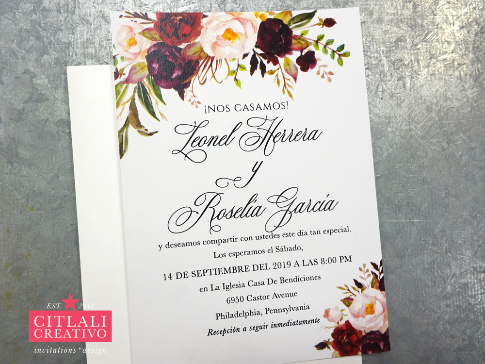 Watercolor Floral Roses Wedding Invitation