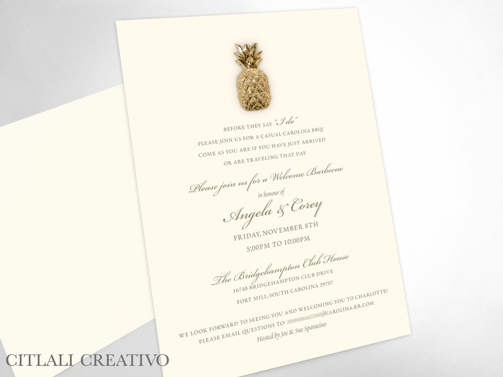 Golden Pineapple Rehearsal Dinner Invitations