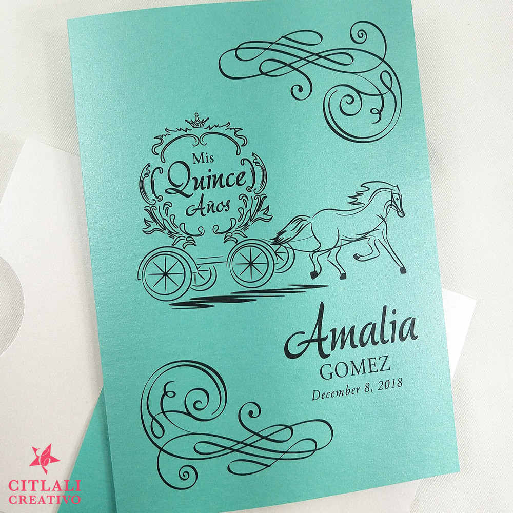 Fairytale Laser Cut band Quinceañera Sleeve Invitations