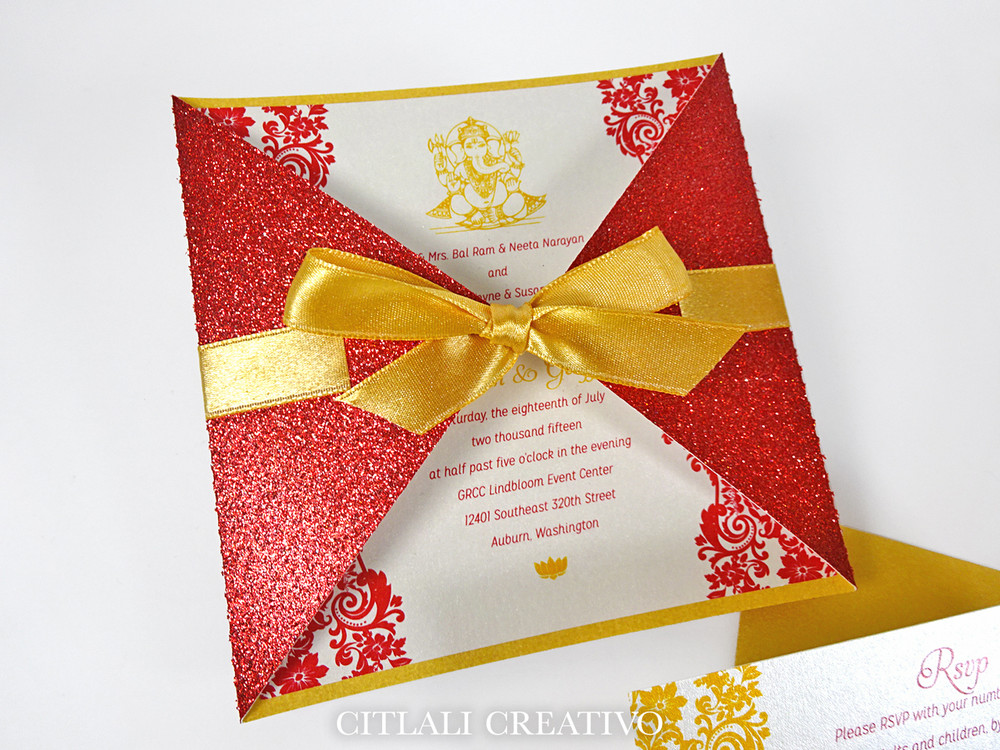 Indian Lotus Diamond Shaped Glitter + Ribbon Invitations