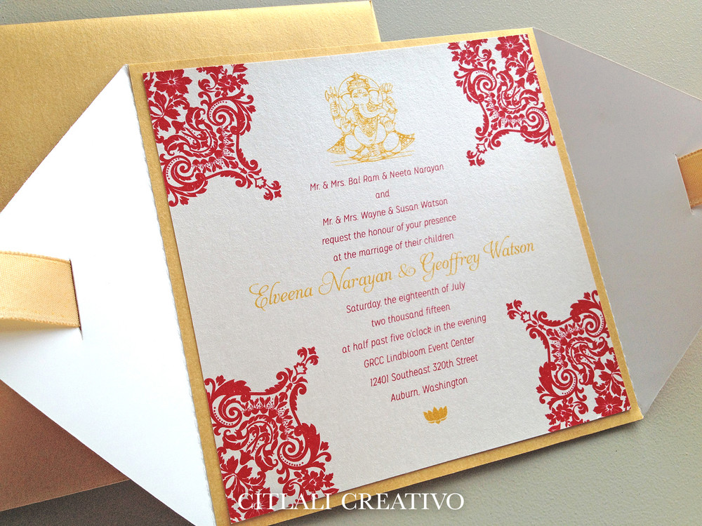 Indian Wedding Invitations in Diamond Shaped Glitter Folder + Ribbon