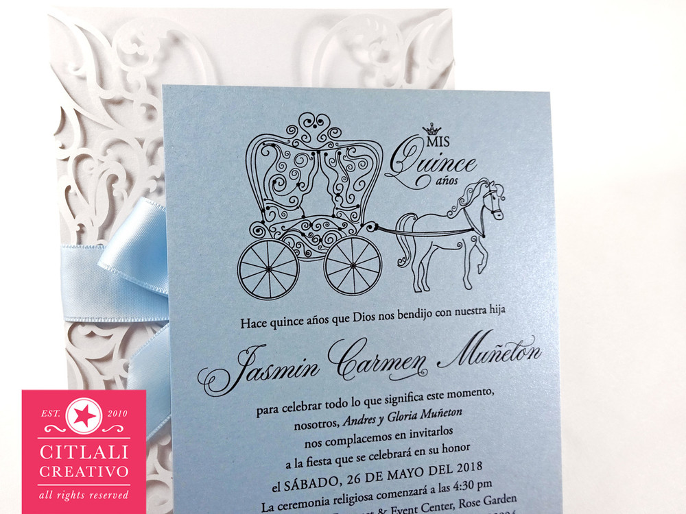 Fairytale Laser Cut + Ribbon & Pearl Brooch Quinceañera Invitations