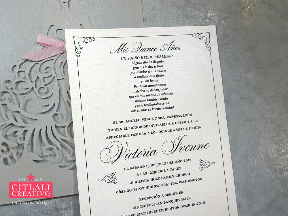 Fancy Dress Girl Laser Cut Quinceañera Invitations with Bow