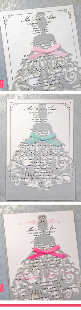 Fancy Dress Girl Laser Cut Quinceañera Invitations with Bows in various colors