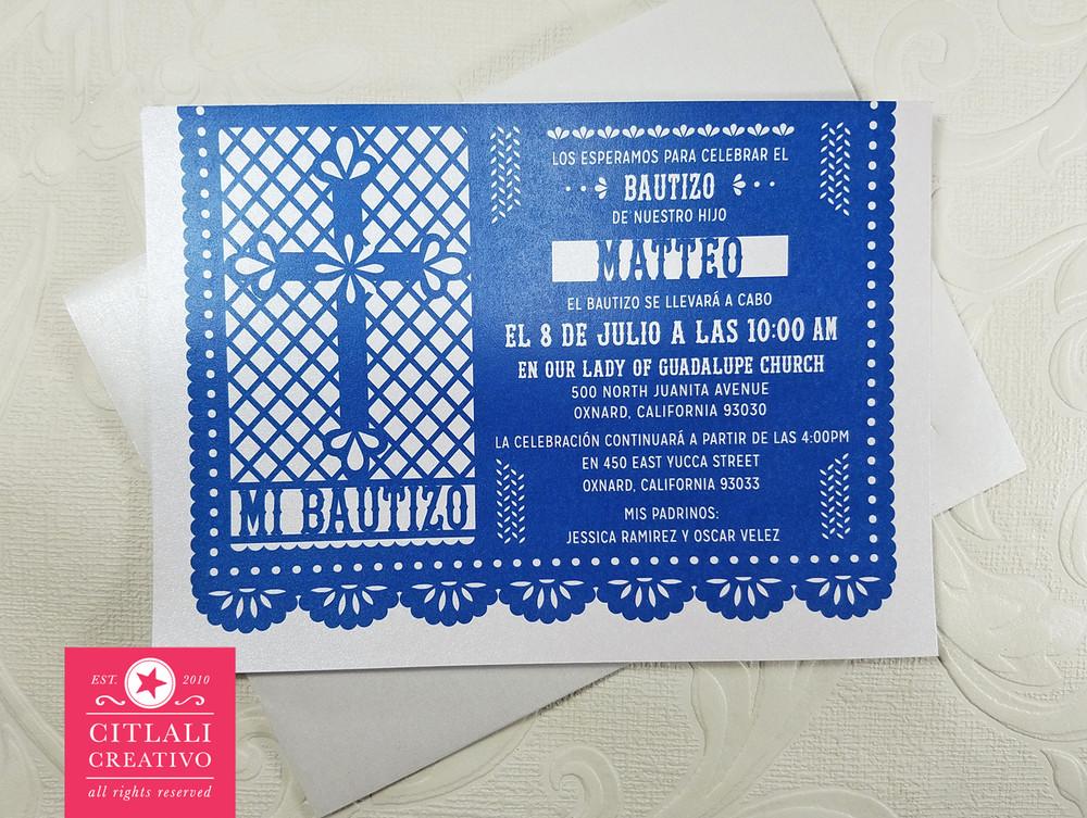 Papel Picado Cross Baptism Bautizo Invitations - Citlali ...