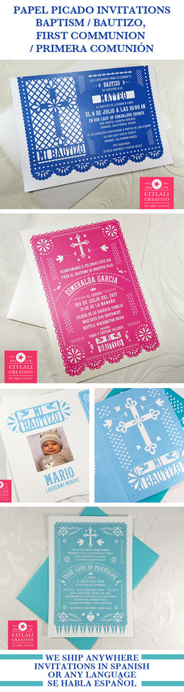 Papel Picado Baptism Bautizo Invitaciones - Citlali Creativo Variety Papel Picado invitation Designs - made to order @citlalicreativo & ship to you!