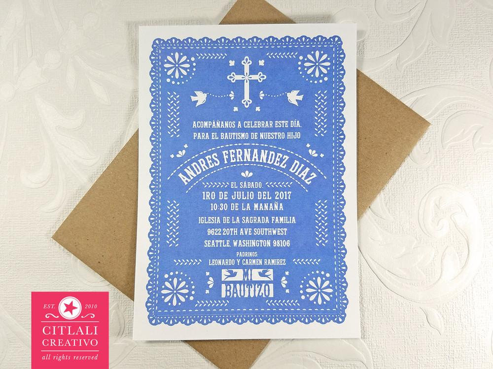 Blue Scallop Cross Papel Picado Baptism Bautizo Invitaciones