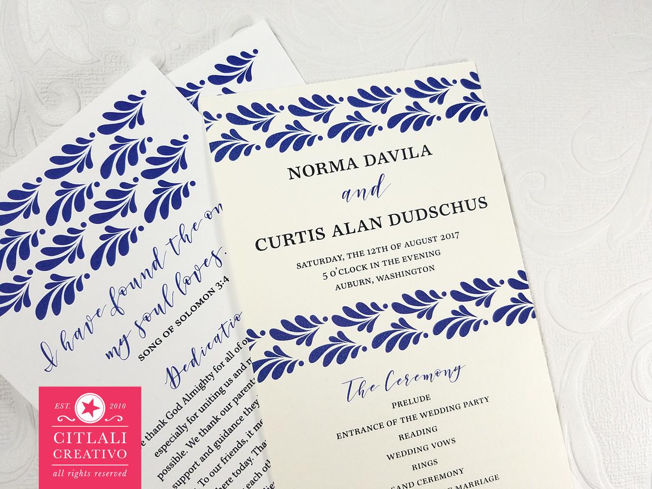 Talavera Wedding Program Spanish Tile Ceremony Programs Citlali Creativo Llc