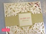 Gold Glitter & Watercolor Roses Laser Cut Quinceañera Invitations
